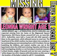 HELP BRING ME HOME!  Leaona was last seen on June 6, 2015 in ‪#‎Pendleton‬, ‪#‎SouthCarolina‬.  Anyone with information is urged to call 1-800-THE-LOST (1-800-843-5678). Calls may be made anonymously.  Leaona 's poster: http://www.missingkids.org/poster/NCMC/1249456   CNN Nancy Grace HLN News Now MSNBC Fox News ABC News NBC News iHeartRadio On Air with Ryan Seacrest NPR National Center for Missing & Exploited Children's Photos in Timeline Photos · Oct 26 #missingchild #missingchildren…
