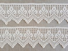 Hand crocheted border fillet crochet lace trim linear or