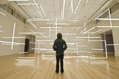 This fluorescent installation entitled Through Hollow Lands was created in 2012 by the duo LILIENTHAL/ ZAMORA at the Frye Art Museum in Seattle. Interaktives Design, Light Art Installation, Art Installations, Museum Lighting, Co Working, Stage Set, Neon, Stage Design, Light Photography