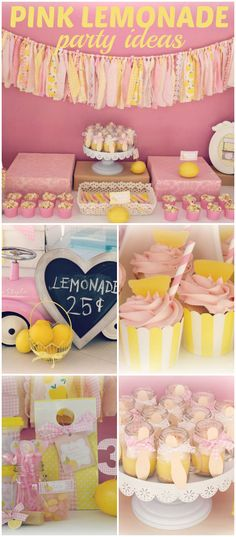 Loving this pink and yellow lemonade party! See more party ideas at CatchMyParty.com!