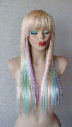 Blonde / Pastel color highlights wig. Long straight hair with bangs - Heat resistant