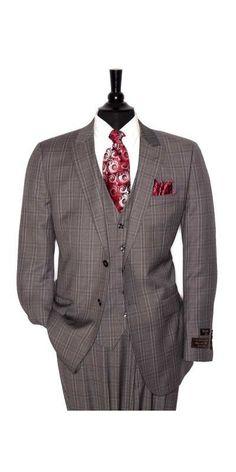 Tiglio Lux Men's Suit Grey Plaid - MADE IN ITALY
