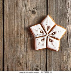 Christmas homemade gingerbread cookie on wooden table - stock photo