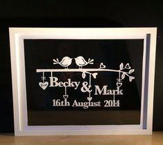 Framed Paper Cut Art  Wedding Birds  30 x 40 cm by EmiCreationsAus, $70.00