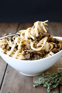 Vegan bolognese with lentils and mushrooms