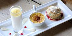 Trio of Apple Desserts Recipe -  miniature apple and calvados crème brûlée, apple crumble tart and creamy apple shot Great British Chefs