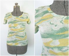 Cotton Blend Print T Shirt Vintage 1960s Judy by rileybella123, $22.00