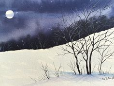 339 best watercolor images on watercolors, water - winter watercolor painting Watercolor Images, Easy Watercolor, Watercolor Landscape, Watercolor Paintings, Watercolours, Winter Painting, Silk Painting, Winter Trees, Winter Art