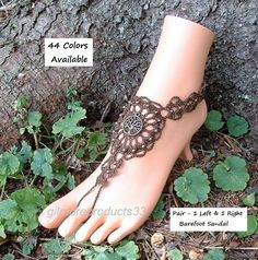Looking for brown #barefoot sandals or tree of life #anklet toe jewelry?  These ankle to toe bohemian hippie shoes would be perfect.  You can even use them for wedding or bri...