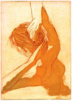 """Saatchi Art Artist: jan henkel; Etching 2009 Printmaking """"Haar doen (Doing her hair)"""""""