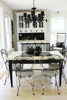 Cottage Dining Room, black and white