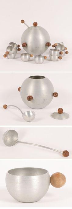 Russel Wright Spun Aluminum and Walnut Ball Punch Bowl Set (circa 1935)