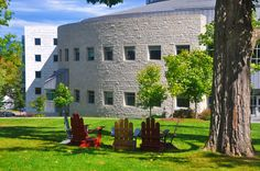 Middlebury College Middlebury Vermont, Middlebury College, Main Library, Adirondack Chairs, Goa, Maine, Plants, Photography, Photograph