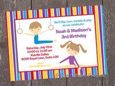 Gymnastics Birthday Invitations with FREE by PaperMonkeyCompany, $1.00