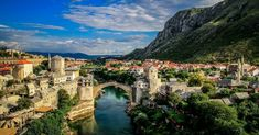 mostar bosnia and herzegovina Mostar Bosnia, Sunset Landscape, Bosnia And Herzegovina, Grand Canyon, Scenery, River, Mansions, City, Places
