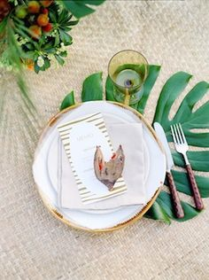 Exotic wedding place setting | Max Koliberdin Photography | see more on: http://burnettsboards.com/2014/07/exotic-safari-elopement/