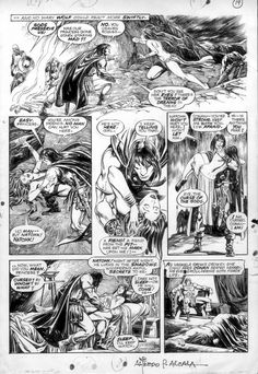 BUSCEMA, JOHN & ALFREDO ALCALA - Savage Sword of Conan #2 page - Black Colossus; early teaming of artists Comic Art