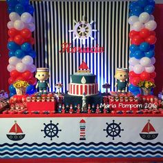 Marinero Sailor Birthday, Pirate Birthday, Baby Birthday, Sailor Theme Parties, Sailor Party, Star Baby Showers, Baby Shower Parties, Baby Boy Shower, Mickey Mouse Clubhouse Birthday Party