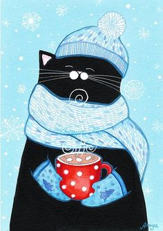 Cat with hot cocoa in winter