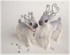 Wedding Cake Topper Reindeer Christmas Wedding by Mythillogical
