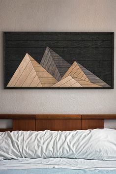 Mountains Wood Wall Art- Large Modern Wood Wall Art- Rustic Wall Art Panel : This Wood Wall Art will make a stunning accent on your wall. Our wall art panels are proudly made out of natural wood, will be an awesome gift! Large Wood Wall Art, Reclaimed Wood Wall Art, Rustic Wood Walls, Wood Wall Decor, Rustic Wall Decor, Wooden Art, Diy Wall Art, Diy Wood, Wood Wall Design