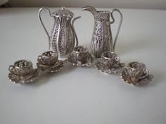 ANTIQUE+1900+SOLID+SILVER+FILIGREE+MINIATURE+DOLLS+HOUSE+COFFEE+SET+POT+JUG+CUPS+#UNMARKED