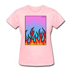 SICKIE THREADS   FLAMES N STUFF - Womens T-Shirt Heather Black, Unique Outfits, Fruit Of The Loom, Women Brands, Comfortable Fashion, Classic T Shirts, Feminine, Unisex, T Shirts For Women