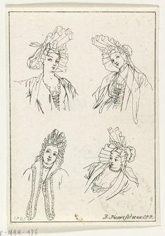 Vier vrouwenhoofden in verschillende standen, met fontange, Bernard Picart, 1703 Four female heads in different positions, Bernard Picart, 1703
