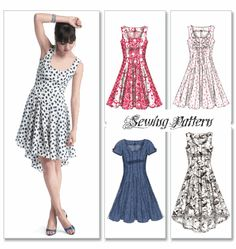 McCall's 6504 Easy Semi-Fitted & Flared Dress w/Hemline Variation Sewing Pattern