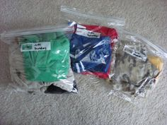 Packing clothes in ziploc bags - one of the best pins I've tried.  Squeezing the air out saved space in our luggage and it was so easy to just grab a bag every morning (each bag had a complete outfit right down to the socks and underwear). Too bad they didn't make bags big enough for adult clothes ;)