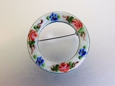 Pretty Vintage Sterling Enamel Roses Circle Pin