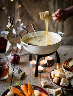 What's on the cards this New Year - THIS epic beer fondue mmm We've added beer to our fondue which adds a lovely savoury flavour. It makes a great centrepiece for a party. Serve with crudités, crusty bread and cocktail gherkins Cheese Fondue Dippers, Best Cheese Fondue, Fondue Restaurant, Dinner For One, Fall Recipes, Real Food Recipes, Cooking Recipes, Beef Recipes, Healthy Recipes