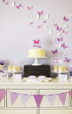 Sweet and Playful Butterfly Birthday Party // Hostess with the . Butterfly Garden Party, Butterfly Birthday Party, Butterfly Baby Shower, First Birthday Parties, Girl Birthday, Birthday Ideas, Purple Party, Festa Party, Birthday Decorations