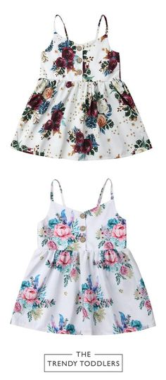 Floral Sleeveless Dress - Dress For Your Little Princess - Trendy Toddler Girl Clothes, Toddler Girl Style, Toddler Girl Dresses, Toddler Outfits, Kids Outfits, Baby Dresses, Dresses For Babies, Children Clothes, Kids Clothing