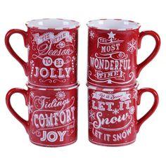 Certified International - Chalkboard Christmas 16 oz. Mugs Red Set of 4 Assorted Designs