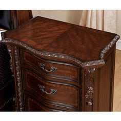 Enitial Lab Luxury Brown Cherry Baroque Style Sleigh Bed with Nightstand Bedroom Set | Overstock.com