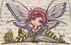"""""""Bookworm Fairy"""" Hannah Lynn Adult Coloring"""