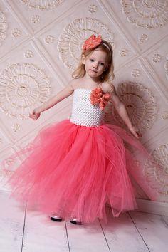 Newborn - Size 9 White and Coral Flower Girl Tutu Dress