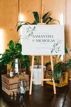 Trending Wedding Ideas from Volume 14 Modern greenery wedding ceremony welcome sign with potted plants and geometric candleholders Wedding Plants, Wedding Flowers, Wedding Colors, Wedding Signage, Wedding Ceremony, Estilo Tropical, Wedding Trends, Wedding Ideas, Wedding Photos
