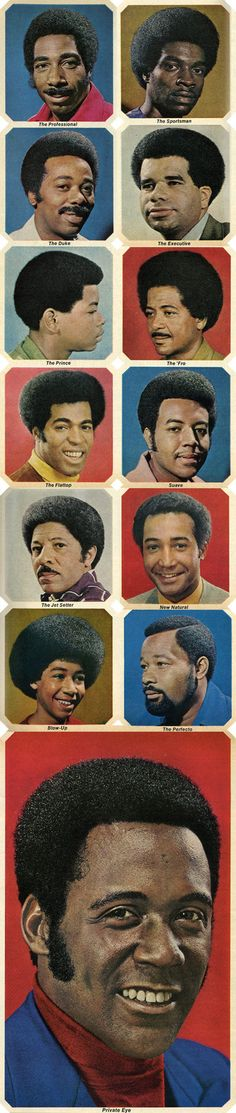 Here's a set of pictures of the Afro hairstyle for men. These are commercial drawings of Afro styles in the when this particular natu. 1970s Hairstyles, Black Men Hairstyles, Haircuts For Men, Cool Hairstyles, Dreadlock Hairstyles, Beautiful Hairstyles, Hairdos, Vintage Hairstyles, Dreads