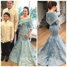 Related image Modern Filipiniana Gown, Filipiniana Wedding Theme, Philippines Outfit, Philippines Fashion, Filipino Fashion, Filipina Beauty, Traditional Dresses, Modern Traditional, Grad Dresses
