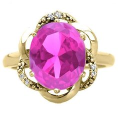Bold Oval Cut Pink Sapphire Gemstone Diamond Yellow Gold Ring Available Exclusively at Gemologica.com