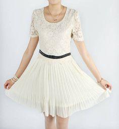 S1455 short sleeve lace chiffon dress-white