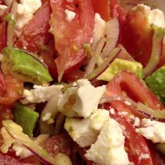 Tomatoes, red onion, avocado, and goat cheese salad. #2 of things I have made from pinterest