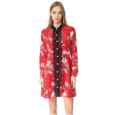 The Kooples Lace Front Floral Collar Dress ($435) ❤ liked on Polyvore featuring dresses, red, floral print dress, long sleeve lace up dress, long sleeve floral dress, red dress and t-shirt dresses