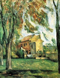 Paul Cezanne, quinta e castanheiras em Jas de Bouffan 1884 Óleo sobre tela. Norton Simon Museum, Pasadena, Califórnia   Jas de Bouffan (Casa do Vento), a antiga residência de verão do Governador da Provence, à oeste de Aix, que foi comprada pelo pai de Cézanne em 1859.   Esta propriedade forneceu uma fonte inesgotável de paz e tranquilidade para Cézanne.   Neste quadro, a casa parece estar virando em direção ao sol, trazendo-opara dentro de si.