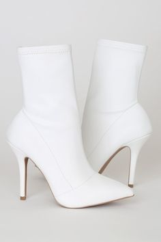 Step into an elevated state of fashion with the Lulus Stassy White Pointed-Toe Sock Boots! Vegan leather boots with a pointed-toe upper and stiletto heel. White Heel Boots, Leather Heeled Boots, Studded Boots, Men's Boots, Black Stiletto Heels, White High Heels, White Pumps, Silver Heels, Fall Shoes