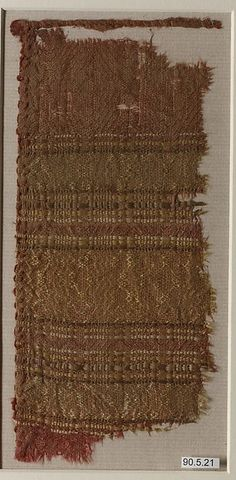 Fragment Date: 13th century Geography: probably Spain Culture: Islamic Medium: Silk (?) Dimensions: 7 11/16 in. high 3 9/16 in. wide (19.5 cm high 9 cm wide) Classification: Textiles