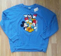 MICKEY MOUSE Jrs SWEATSHIRT / NEW w/tags/ Embellished puffy DISNEY GANG Sz Jr L #Disney #SweatshirtCrew