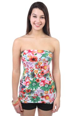 Deb Shops rouched side bust #tropical #print tube top